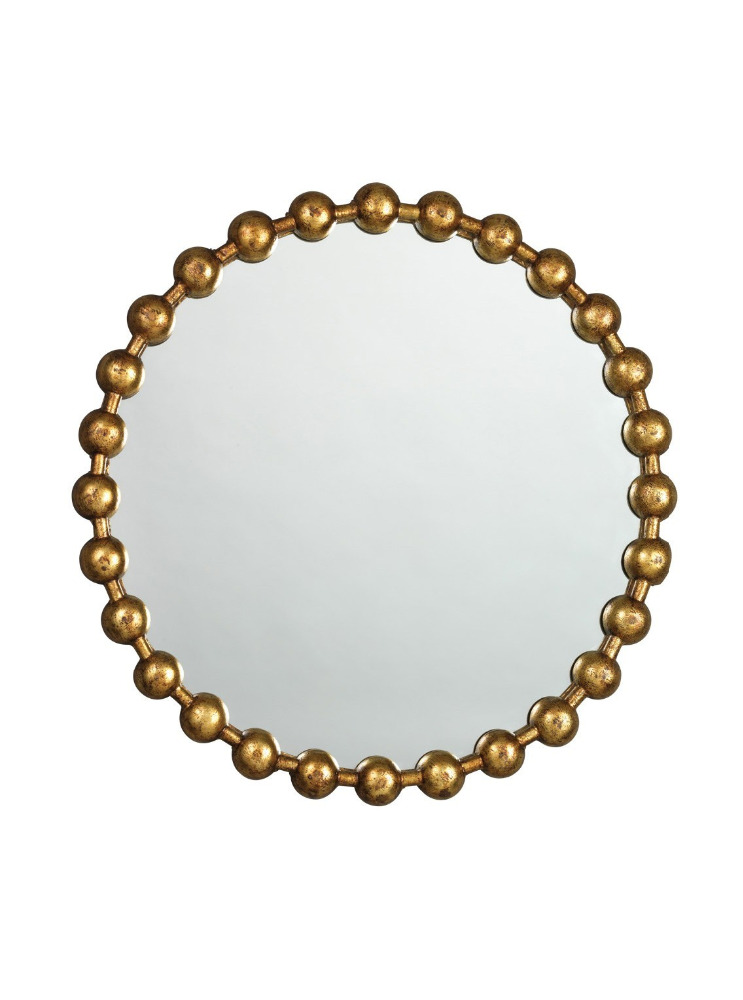 Hot sales New Round Ball Chain Mirror Frame with Antique Gold Brass Finish for fashion home decoration