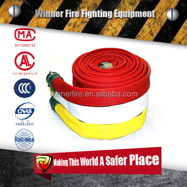 red yellow rubber covered layflat fire hose coupled