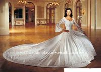 Long sleeve embroidery satin custom-made cathedral train wedding dresses CWFaw1591