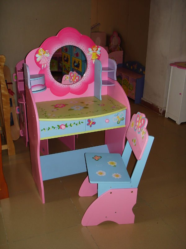 Wooden Pink And Nice Children Dressing Table With Chair Mirror Stool Drawers Modern