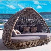 PE Rattan Sun Bed Outdoor Lounger