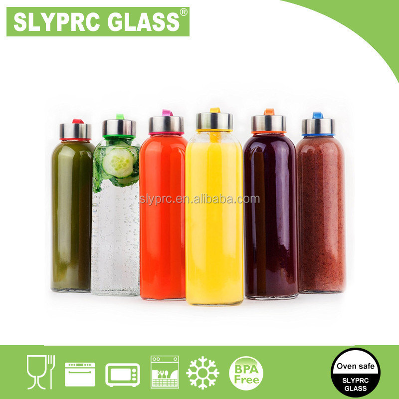 18oz Glass Water Bottle 6 Pack - Glass Bottles with Lids for Juicing or Beverage Storage - Set of 6