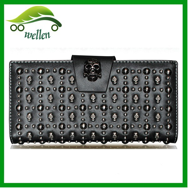 New Arrival Leather Skull Wallet Ladies Rivet Purse
