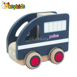 2016 wholesale baby wooden toy police car, new design kids wooden toy police car, hottest wooden toy police car W04A103