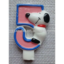 Pink Number Candle with Cartoon Character