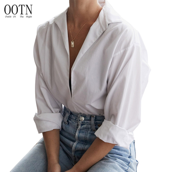 OOTN 2019 Fall Winter Loose Fashion Turn Down Collar V Neck Blouse Female Tunic Tops Women Long Sleeve White Shirt Office Blouse