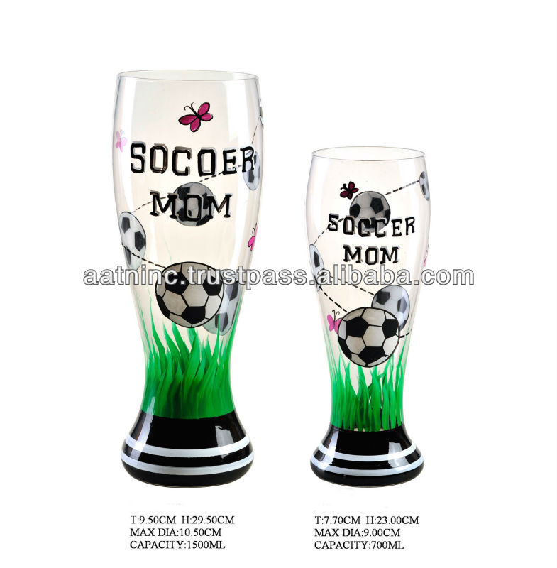 beer glass with football handpainting pattern