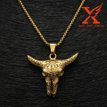 2061 Jewelry Impress Fashion Shape Cool stainless steel Gold ox head pendant