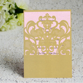 Wholesale Luxury Handmade Decoration golden folding wedding invitation cards