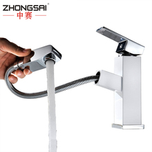 Chrome Single Handle Pull Out Brass Wash Basin Faucet with cold and hot water