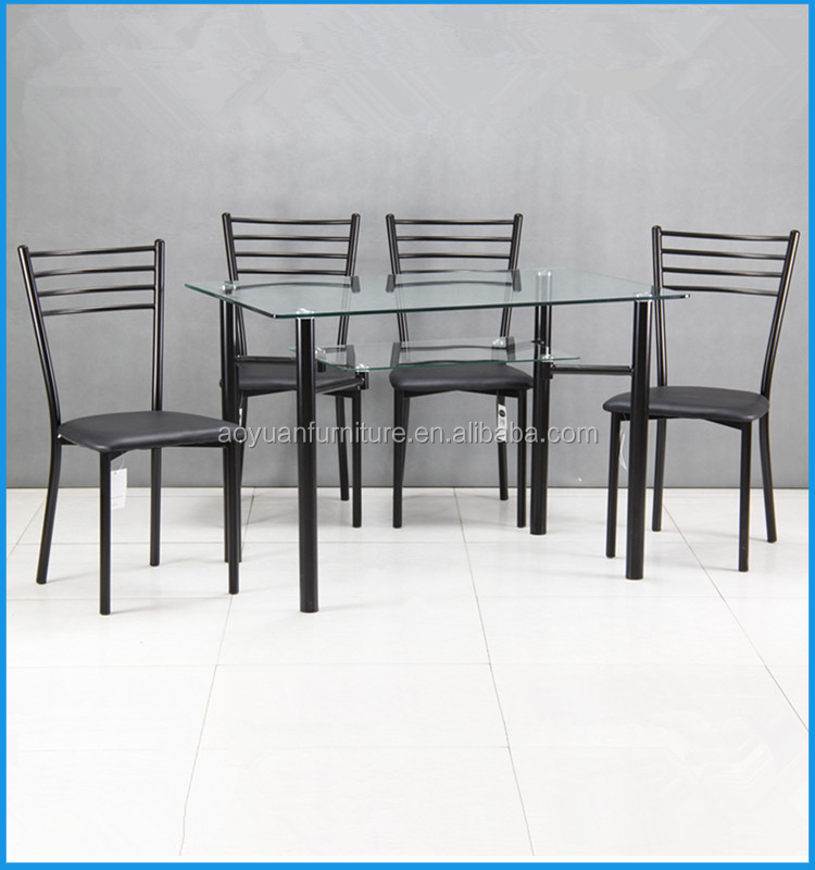 modern cheap glass restaurant glass dining table 6 chairs set view
