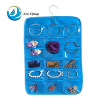New style jewelry and hair accessory foldable plastic pocket non woven variety of colors storage hanging organizer with hook