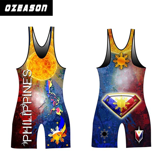 Full Sublimated Men's Custom Wholesale Gym Wear Wrestling Singlets