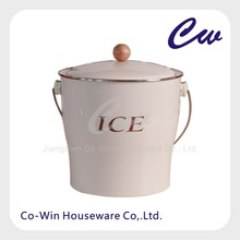 Galvanized Steel Metal Ice Bucket With Plastic Inner Liner And Lid