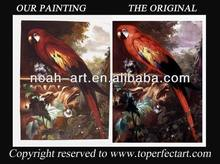Handpainted oil paintings of parrots in high quality