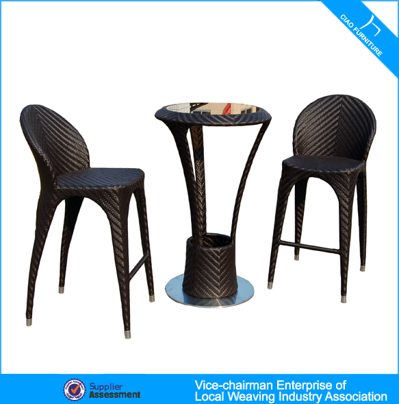 High End Wicker Furniture Bar Table And Stools