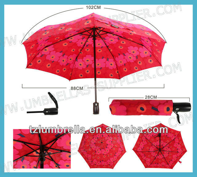 Auto High Quality 3 Folding Umbrella With Case for Promotional