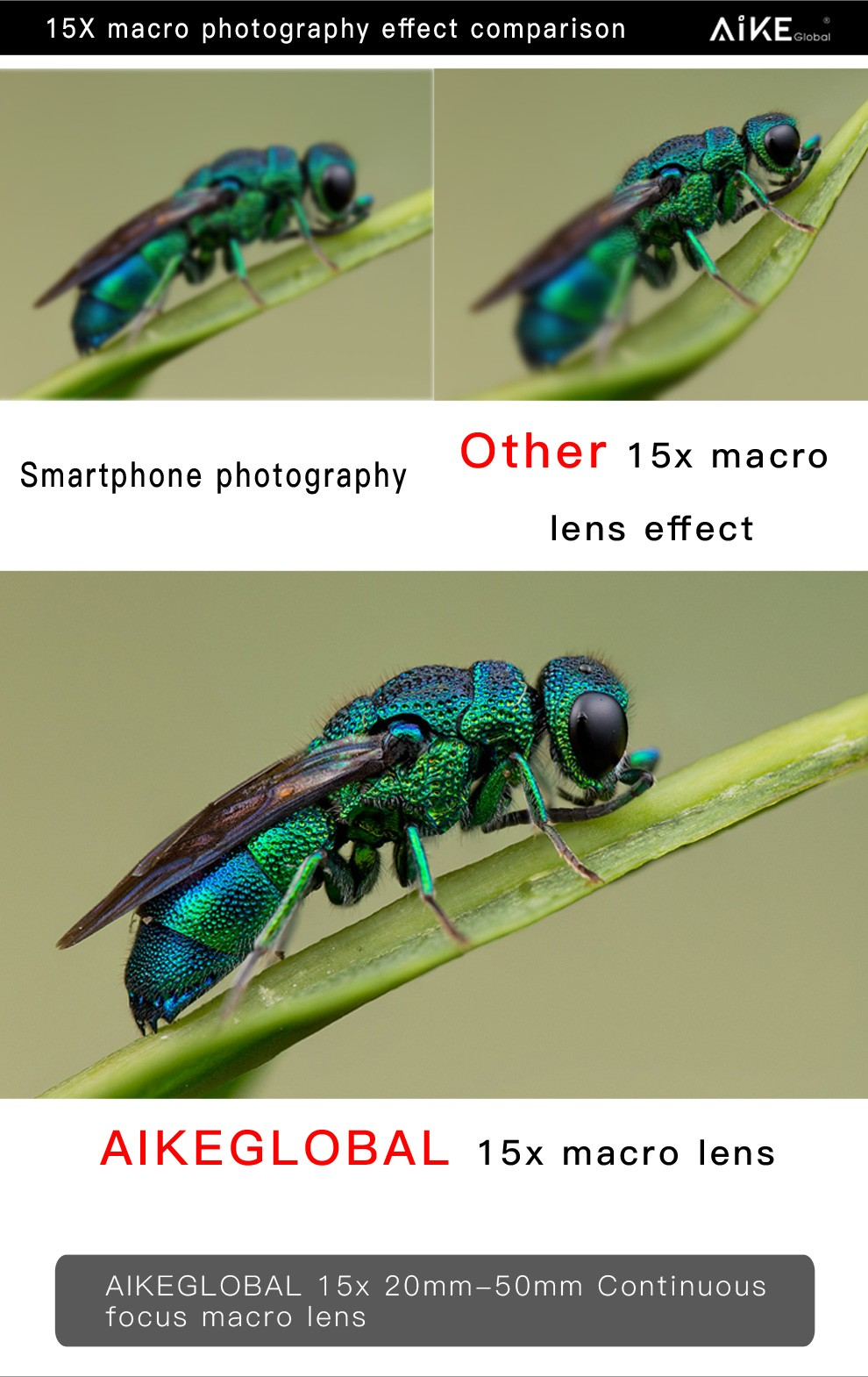 2017 Awesome Microscope Photography 15X Micro Lens Close-up Shot Macro Lens for iPhone Samsung Huawei Oppo
