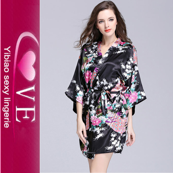 Satin short sleeve robe