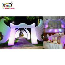 RGB inflatable white color arch door with wings / inflatable angel arch door
