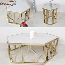 hotel hexagon shape marble top golden stainless steel coffee table for living room