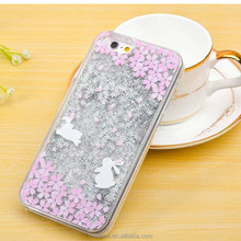 Fashion Glitter Star Flowing Liquid Quicksand Case For Apple iPhone 6 iphone6 Plus Cover Cute Cartoon Sakura Rabbit Phone Cases