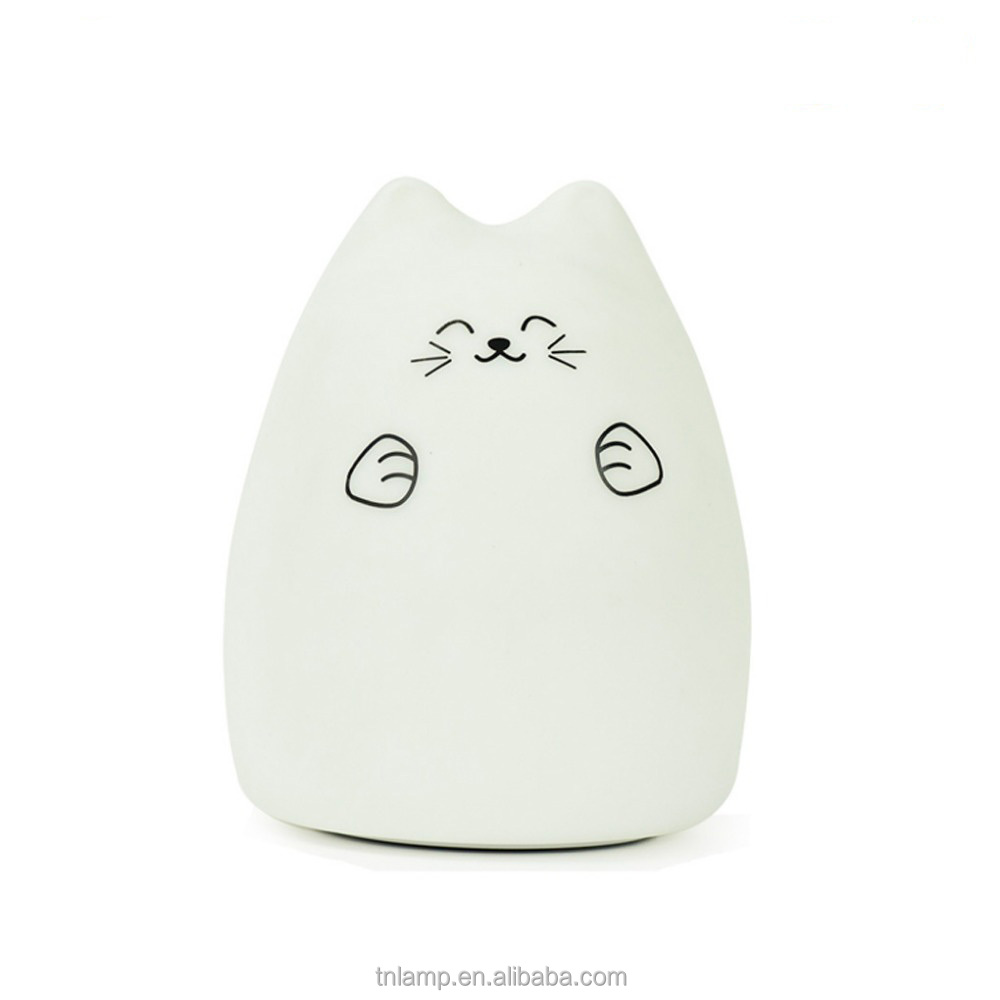 Colorful USB charging LED Night Light Multicolor Silicone Cute Cat Light