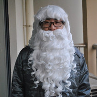 factory wholesale cheap white synthetic Santa Claus hair wig beard set