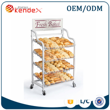 cheap mobile metal food carts with wheels for fresh bakery sale