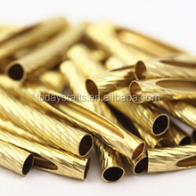 31 x 5 mm Brass Curved Textured Brass hollow jewelry metal tube crimping