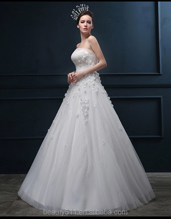Latest Design Appliqued Beaded Crystals A-line Strapless Sleeveless Floor-length Bridal Gown Organza Wedding dresses WD1862