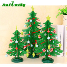 2017 Wholesale New Design Wood XMAS Tree Mini Artificial Christmas Tree