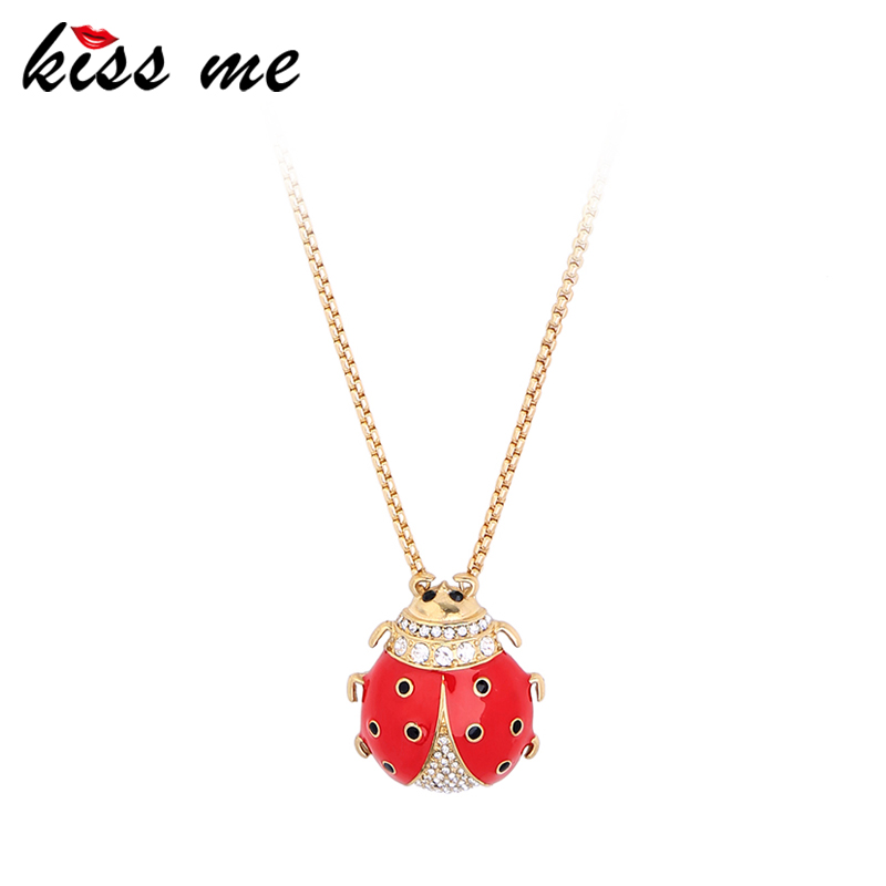 2017 New Sweet Cute Red Enamel Rhinestone Ladybird Long Pendant <strong>Necklace</strong>