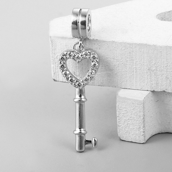 Cute sterling silver 925 heart key cz pave dangle charms beads with bail