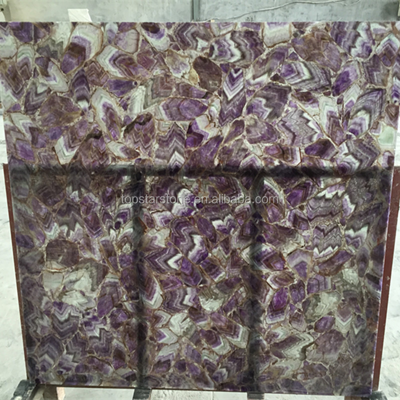 Backlit Amethyst Purple Semiprecious Stone Purple Agate Stone Slab