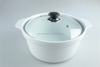 Great White Ceramic Cooking Pot With Two Handles, Porcelain Tureen With glass cover