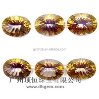 High quality natural gemstone oval cut mystic fire yellow natural imperial topaz