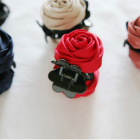 Rose Flowers Bud Black Red Plastic Teeth Hair Claw Clips Exquisite Elegant Headwear for Women Hair Accessories