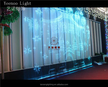 Hot selling decrative lighting led snowflake window light/organza fiber optic curtain non electric light for inner decoration