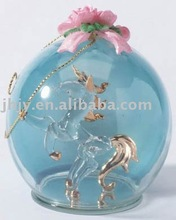 GNle-6 Christmas Glass Globe Decoration with Glass Unicorn