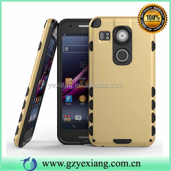 Gold Color TPU PC Hybrid Shockproof Case Aluminum Cover For LG Nexus 5