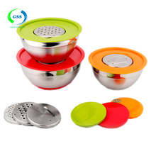 High qality measurement marks stainless steel keep fresh crisper salad bowl with 3 Grater Attachments