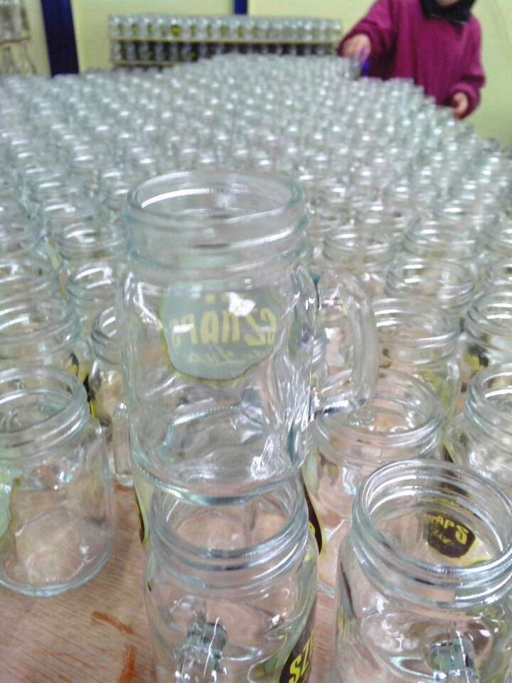 4oz clear glass empty mason jar with handle
