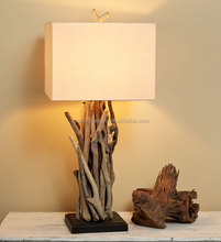 wholesale artistic style branch table lamp with rectangle fabric lamp shade for home decor