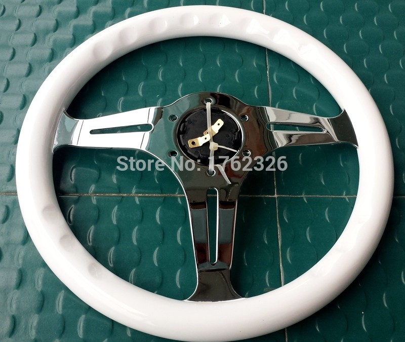 High quality14 inch 35cm universal vintage classic wood wooden auto car steering wheel with horn button all handmade
