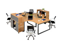 knocked down modern office table / computer desk / metal frame office computer table with drawers