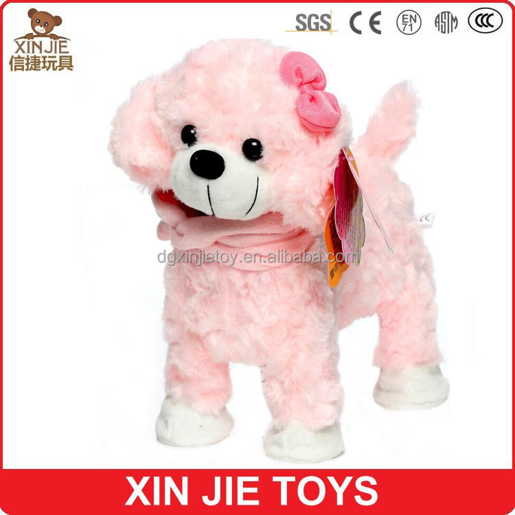 cute pink plush dog toy cheap soft dog toy for children 8inch standing dog plush toy