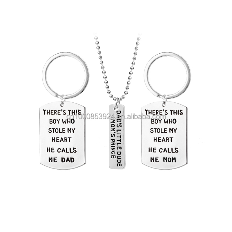Family Jewelry Keychain Necklace Set Dads Little Dude Moms Prince There Is This Boy Who Stole My Heart Parents Gift