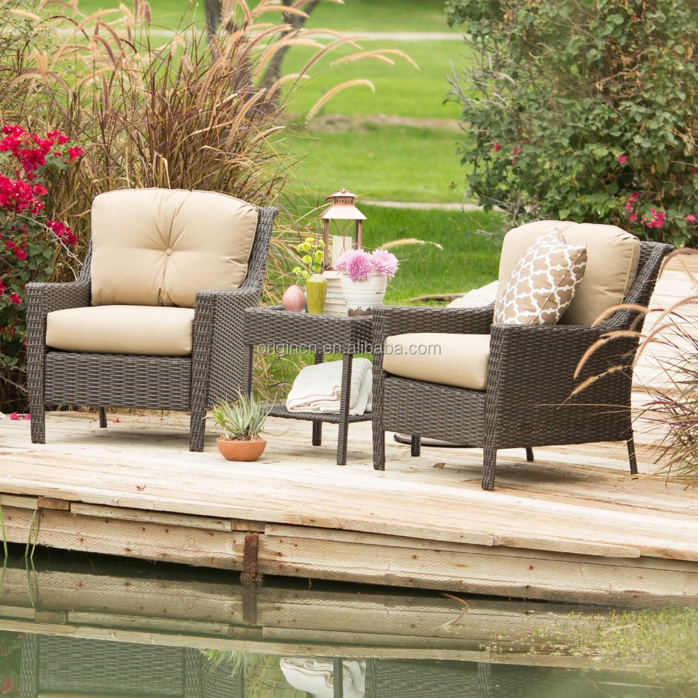 Deep sitting outdoor rattan laguna lounge furnitue with side table and single seater sofa