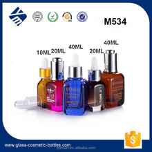 Wholesale Cosmetic Packaging Square Serum / Foundation Glass Bottle, Glass Dropper Bottle with Rubber Stopper
